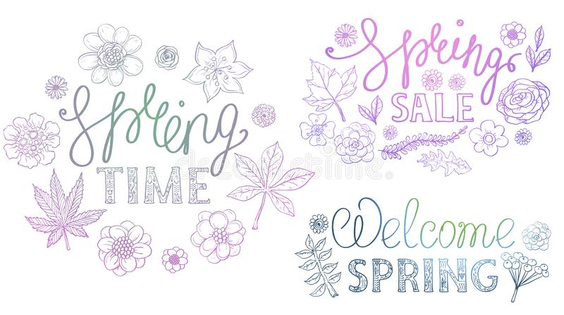 Spring hand drawn retro lettering design with floral decorative elements stock illustration