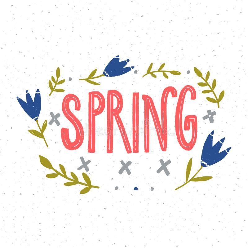 Spring hand lettering word decorated with blue flowers and green branches on white background.  vector illustration