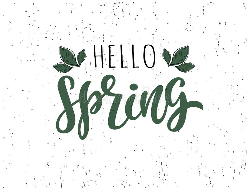 Hello Spring hand sketched typography icon lettering vector illustration