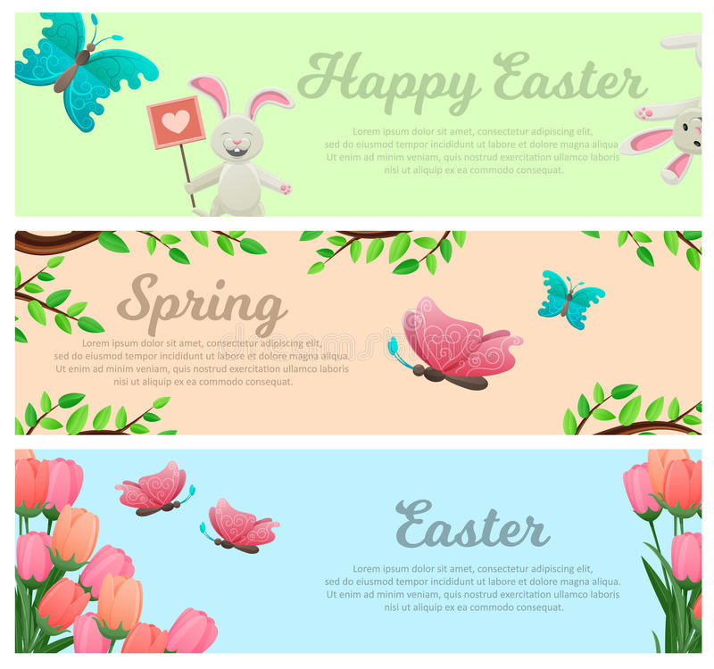 Spring and Happy Easter Vector Web Banners Set vector illustration