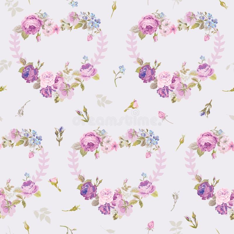 Spring Hearts Flowers Backgrounds vector illustration