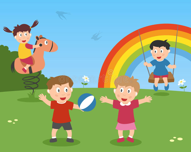 Spring Is Here. A group of kids playing in a spring day in a park. Eps file available stock illustration