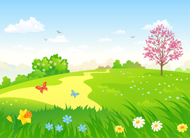 Spring hill. Illustration of a beautiful spring hill with blooming flowers and trees royalty free illustration