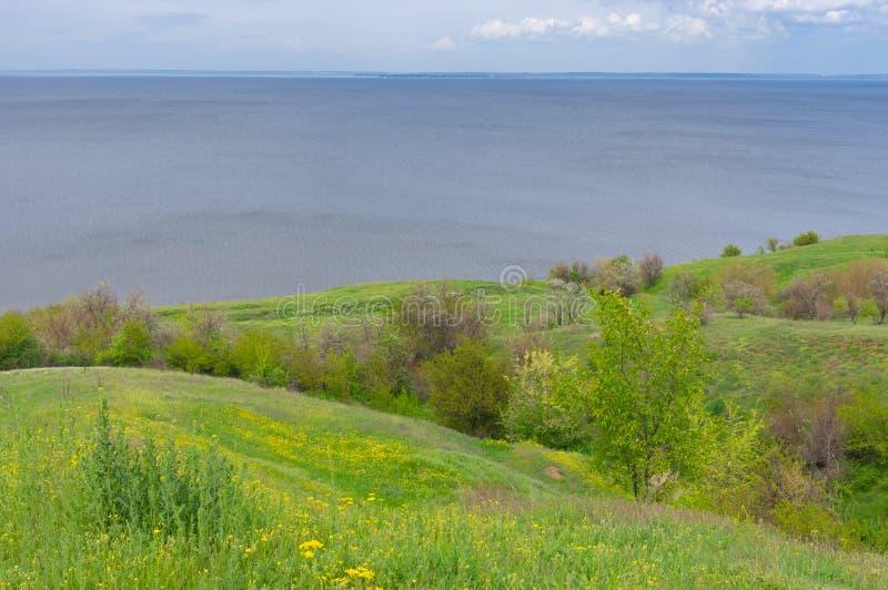 Spring hilly landscape Kakhovka Reservoir riverside stock image