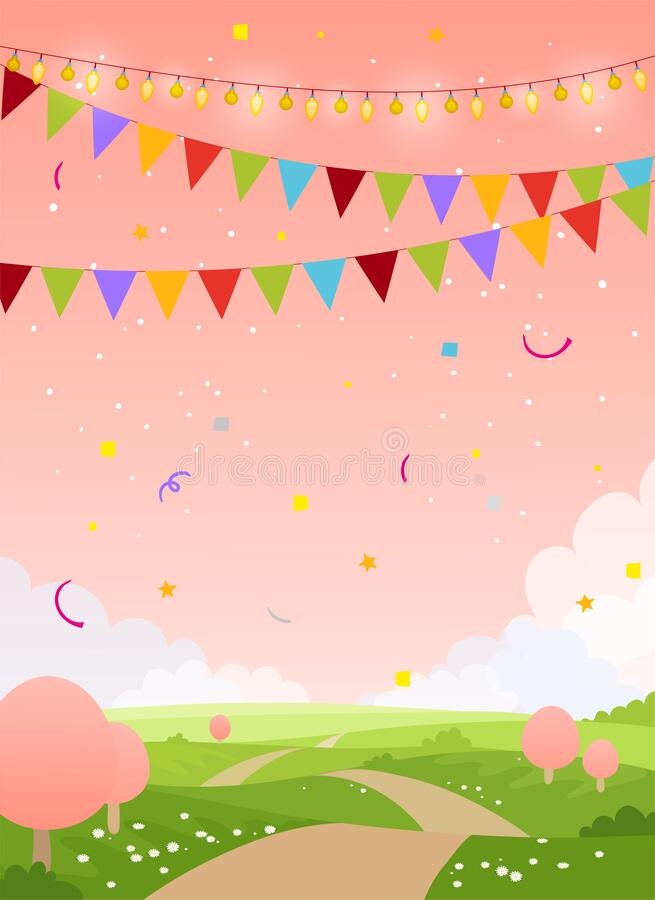 Spring holiday card background with copy space. Fairytale country with pink sky, trees and flags. Blank for birthday, invitation, royalty free illustration