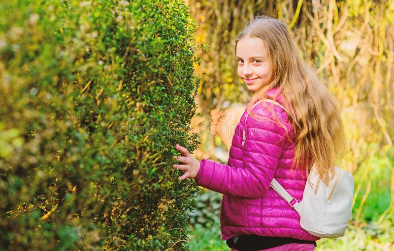Spring holiday. Green environment. Natural beauty. Childhood happiness. happy child in park. summer nature. little girl. Spend free time in park. Time to relax royalty free stock image