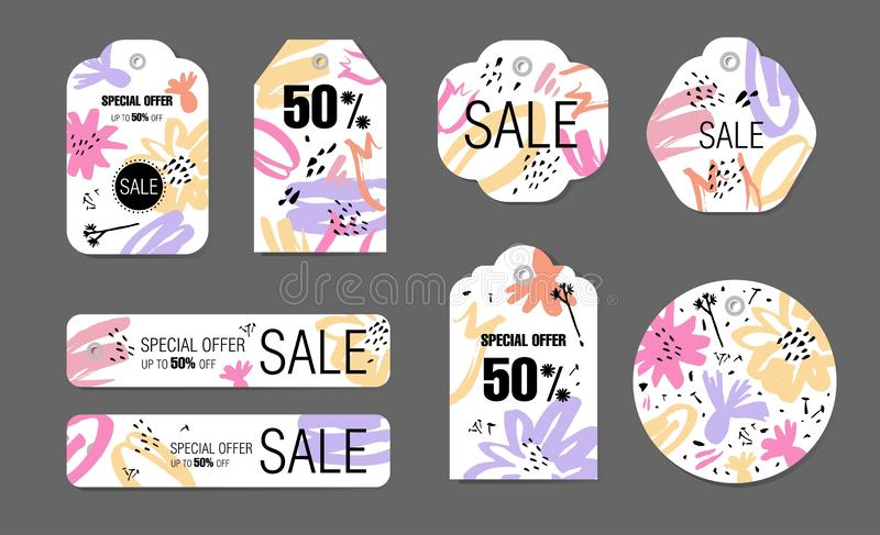 Spring holiday tags set with abstract flower background. Vector design Sale, Price offer elements on white stock illustration