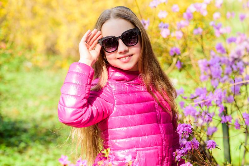 Spring holiday. Womens day. happy child with cherry bloom. summer nature. Sakura. Natural beauty. Childhood happiness royalty free stock photos