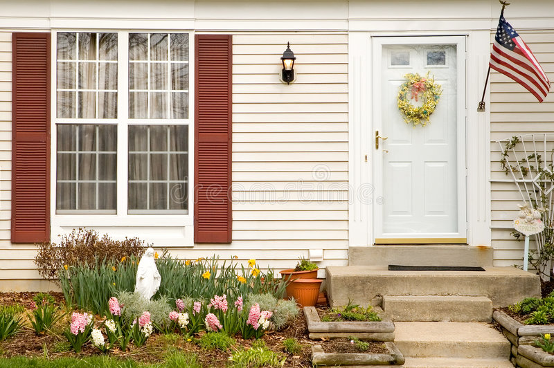 Download Spring home landscaping stock image. Image of door, townhouse - 4804539