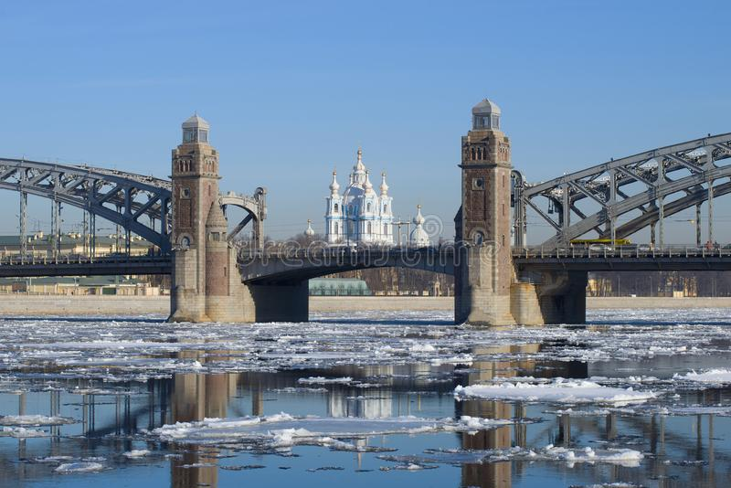 Spring ice drift at Bolsheokhtinsky Bridge. St. Petersburg, Russia royalty free stock images