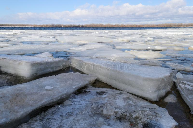 Spring ice drifting on the river. Background texture. stock photography