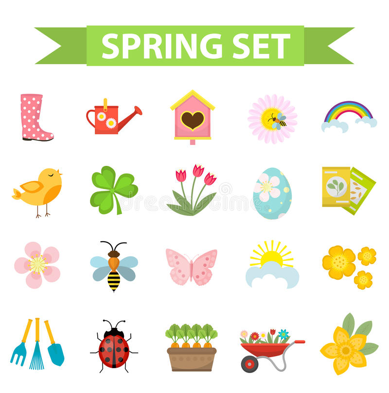 Spring icons set, flat style. Gardening cute collection of design elements, isolated on white background. Nature clip vector illustration