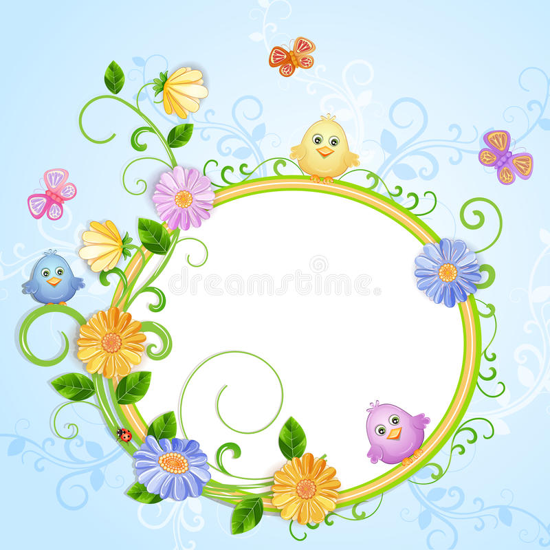 Download Spring Illustration With Beautiful Flowers Stock