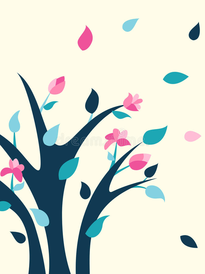 Spring illustration with bright flowering shrub. Spring bush. royalty free illustration