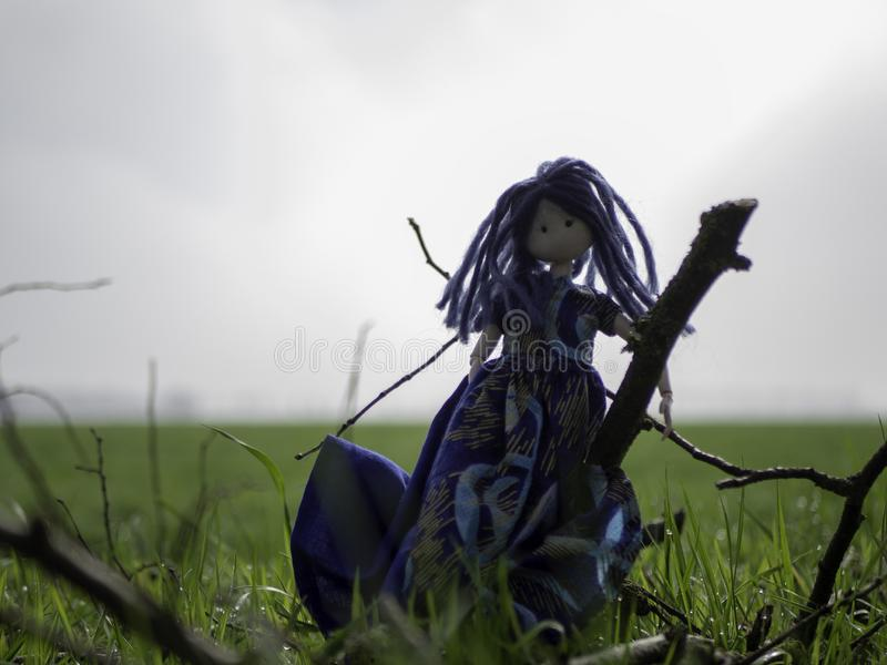 Rag doll with blue hair standing in a meadow royalty free stock photos