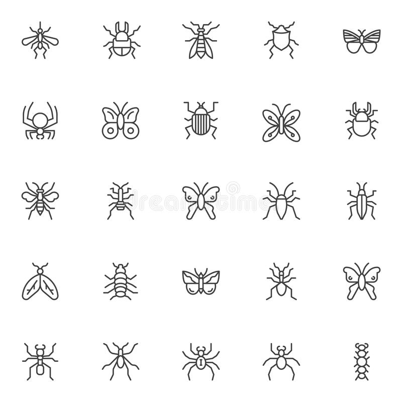 Spring insects and bugs outline icons set. Linear style symbols collection, line signs pack. vector graphics. Set includes icons as mosquito, butterfly, bed vector illustration