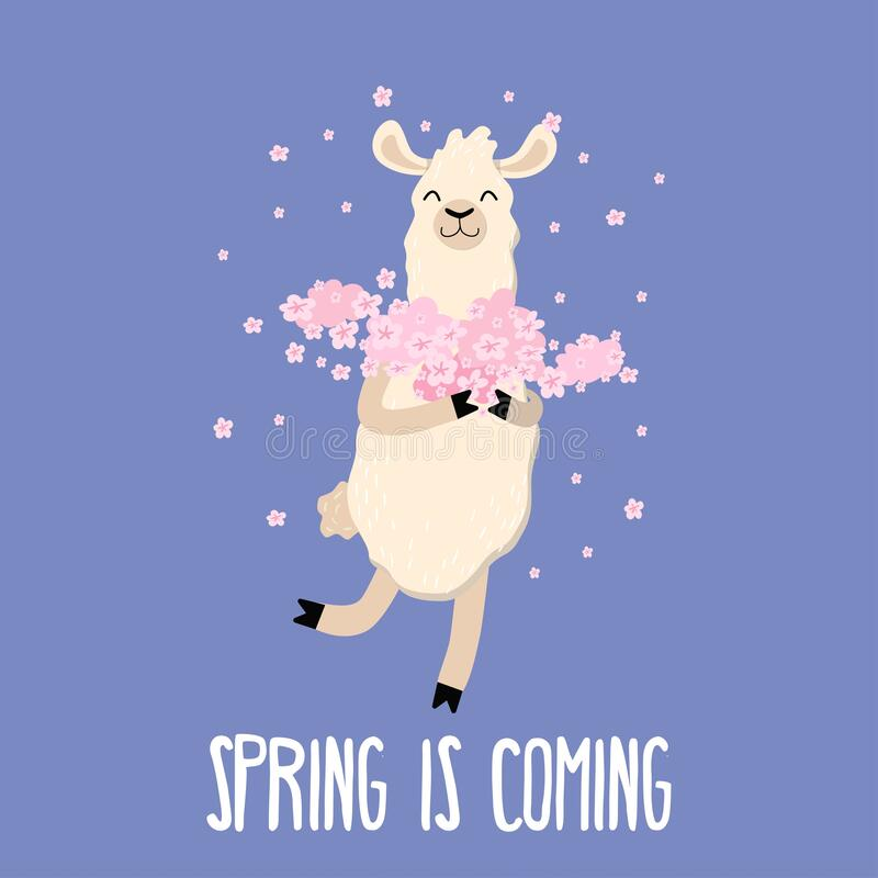 Free Spring Is Coming Cute Card With Funny Llama Stock Photography - 168820542