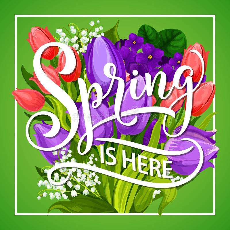 Free Spring Is Here Greeting Poster With Flower Bouquet Royalty Free Stock Photos - 113689778