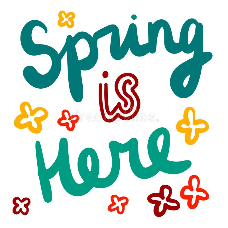 Free Spring Is Here Hand Drawn Illustration With Lettering Flowers Stock Photos - 134697113