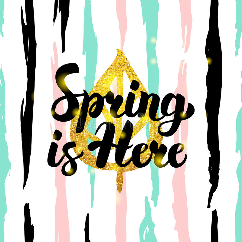 Free Spring Is Here Handdrawn Card Royalty Free Stock Photography - 91044167