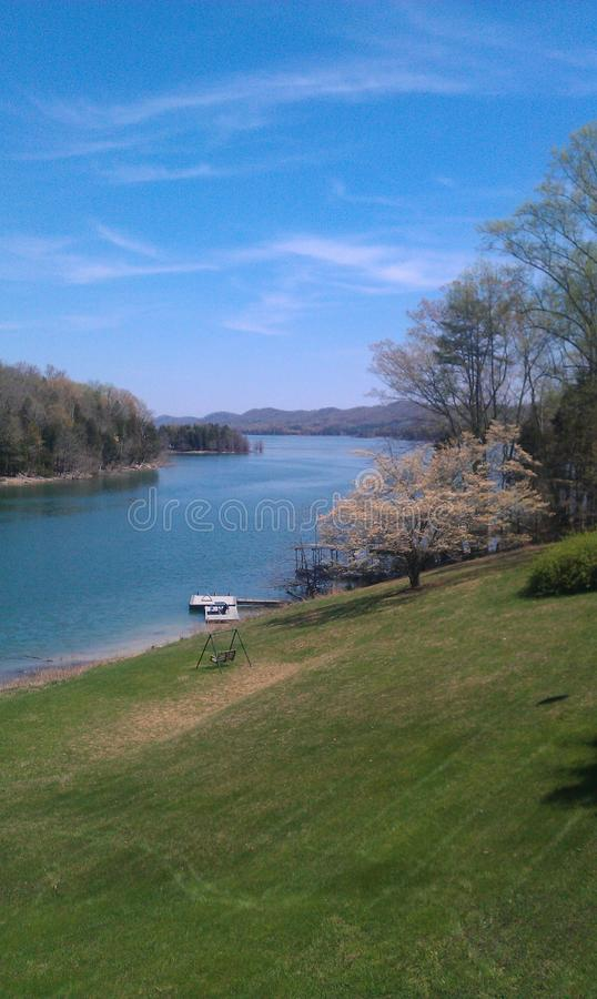 Spring at lake stock photography