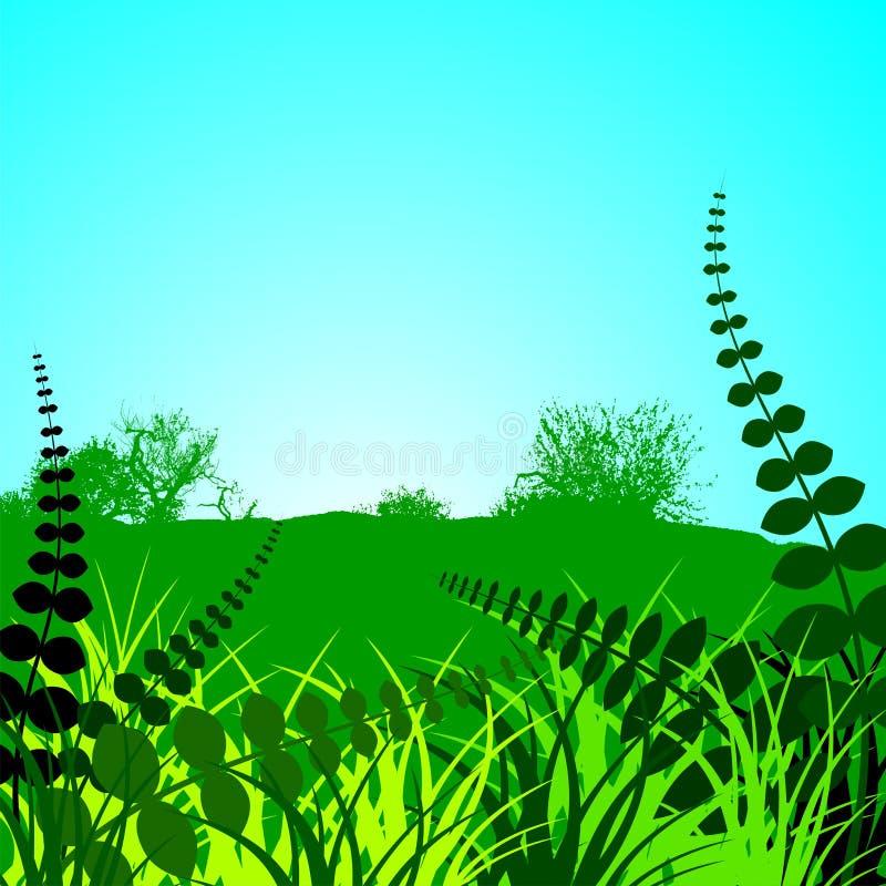 Spring landscape. With green floral ornamental motives stock illustration