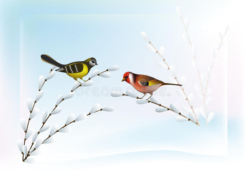 Spring Landscape with Birds. Goldfinch and chickadee sitting on the branches of willow buds against the snow and sky royalty free illustration