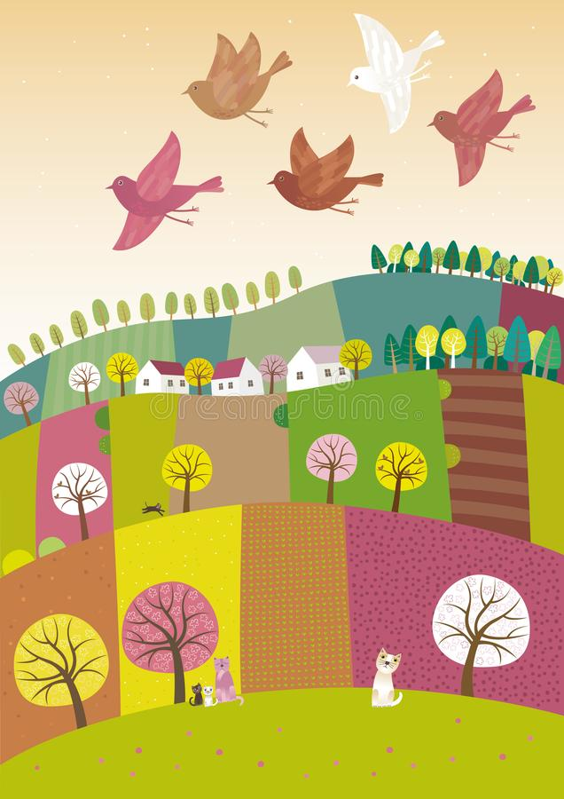 Spring landscape with birds flying stock illustration