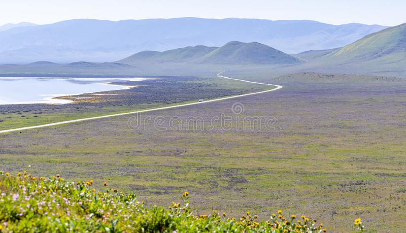 Spring landscape in Carrizo Plain National Monument, Central California royalty free stock image