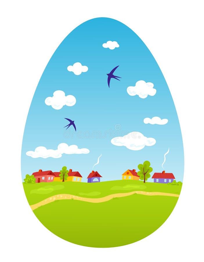 Download Spring Landscape In The Form Of Easter Egg Stock Vector - Illustration: 29524656
