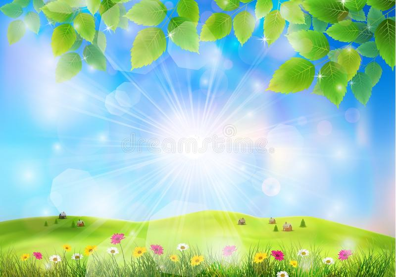 Spring landscape with house on a hill and flower field vector illustration