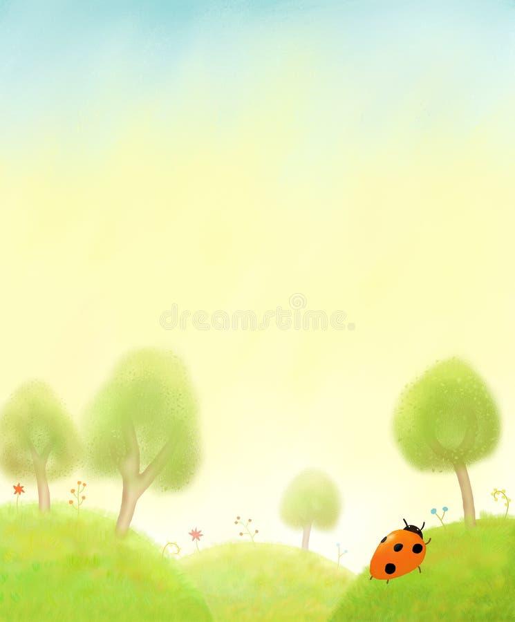 Spring landscape and ladybug stock images