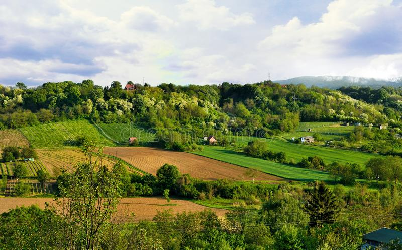 Spring landscape of the National Park Fruska Gora, Serbia royalty free stock photos