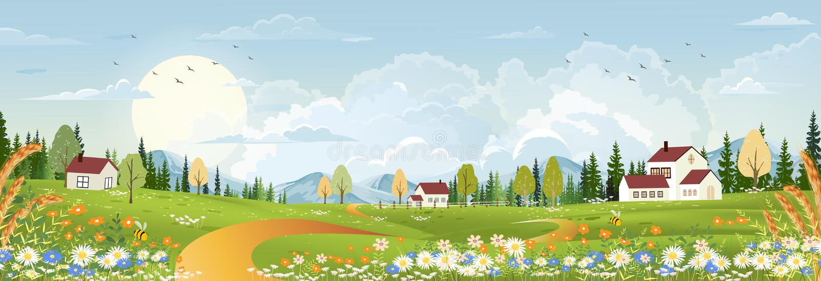Spring landscape with peaceful rural nature in springtime with wild grass land,farm house,mountain,sun, blue sky and clouds. Spring landscape with peaceful rural stock photo