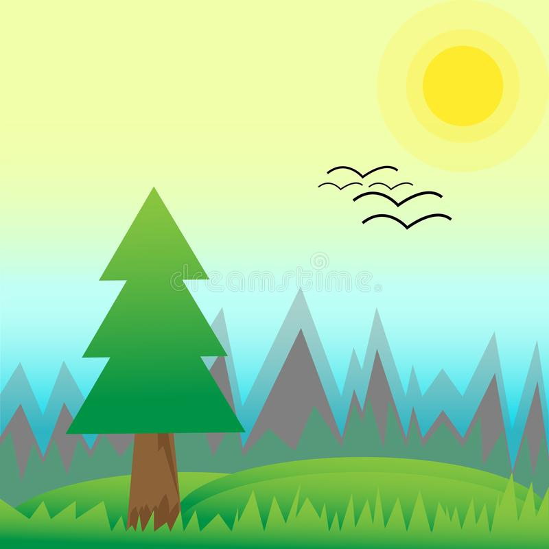 Spring landscape of pine forest and green meadow with hills on sunny morning. Birds arrive to home. Scenery nature flat vector illustration style vector illustration