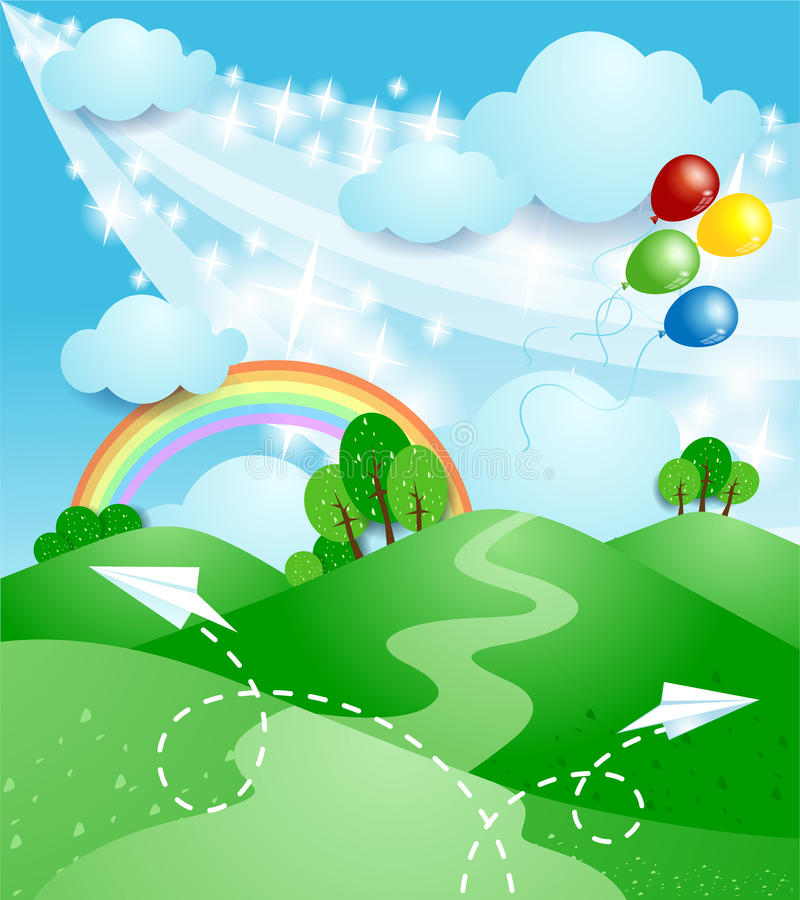 Spring Landscape With Rainbow Stock Image