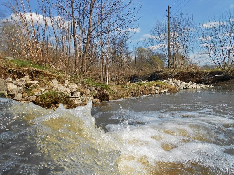 Spring landscape with running water. royalty free stock photography