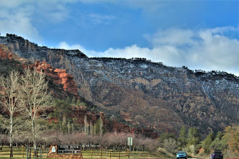 Landscape Scenery, Maricopa County, Oak Creek Canyon, Arizona, United States. Spring landscape scenery view of the mountains and area vegetation from Oak Creek royalty free stock photo