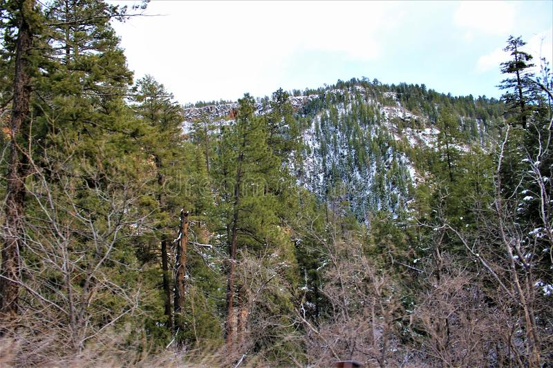 Landscape Scenery, Maricopa County, Oak Creek Canyon, Arizona, United States. Spring landscape scenery view of the mountains and area vegetation from Oak Creek stock photos