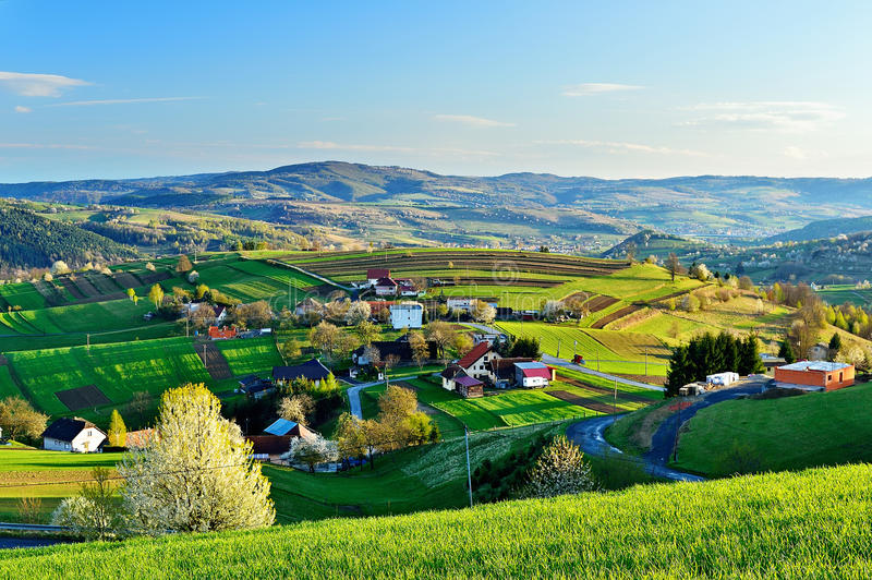 Spring landscape in Slovakia. Rural countryside in Polana region. Fields and meadows with blooming cherries royalty free stock photos