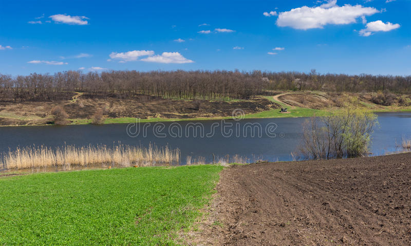 Spring landscape with Suha Sura river in Vasylivka village near Dnepr city, central Ukraine royalty free stock images