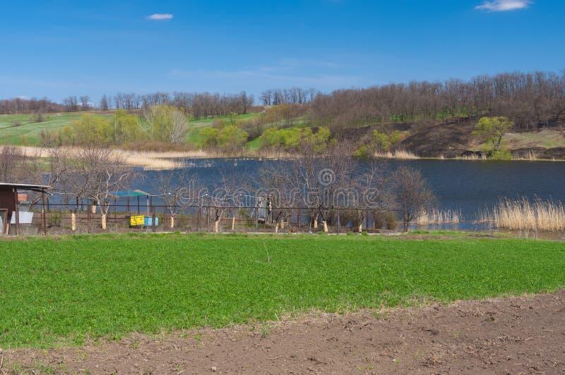 Spring landscape with Suha Sura riverside in Vasylivka village near Dnepr city royalty free stock photo