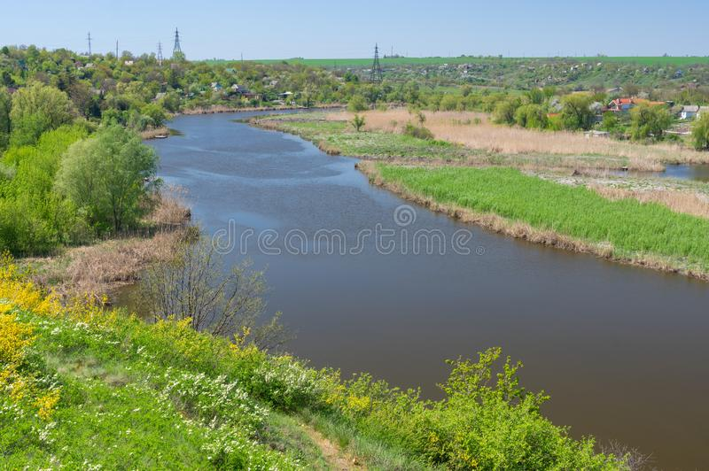 Spring landscape with Sura riverside and summer cottages near Dnipro city royalty free stock photo