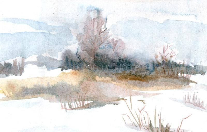 Spring landscape with trees on the field. Watercolor illustration. stock illustration