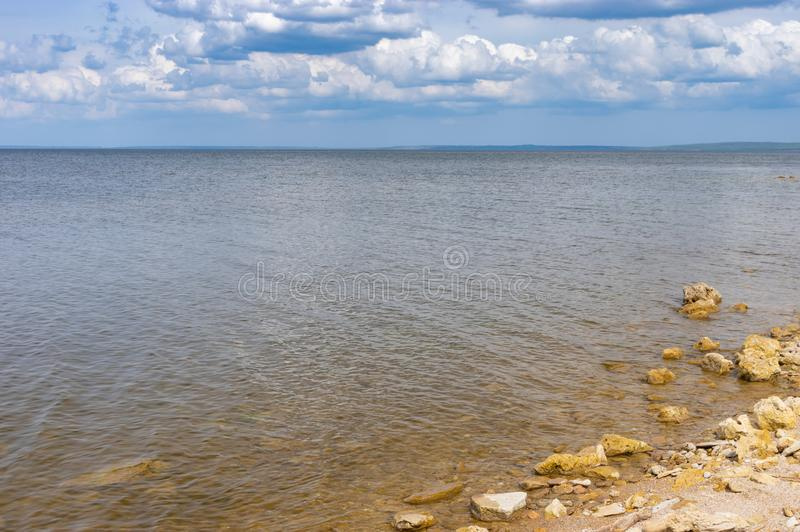 Landscape with wild beach on Kakhovka Reservoir located on the Dnipro River royalty free stock photos