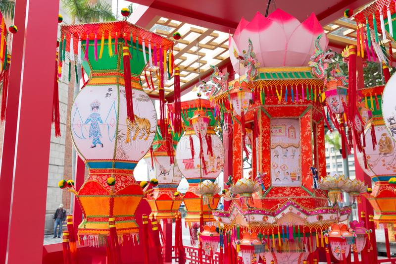 Spring Lantern Festival in Hong Kong. The carnival takes place in the grounds of the Lantern Exhibition at the Hong Kong Cultural Centre Piazza. The exhibition stock photography