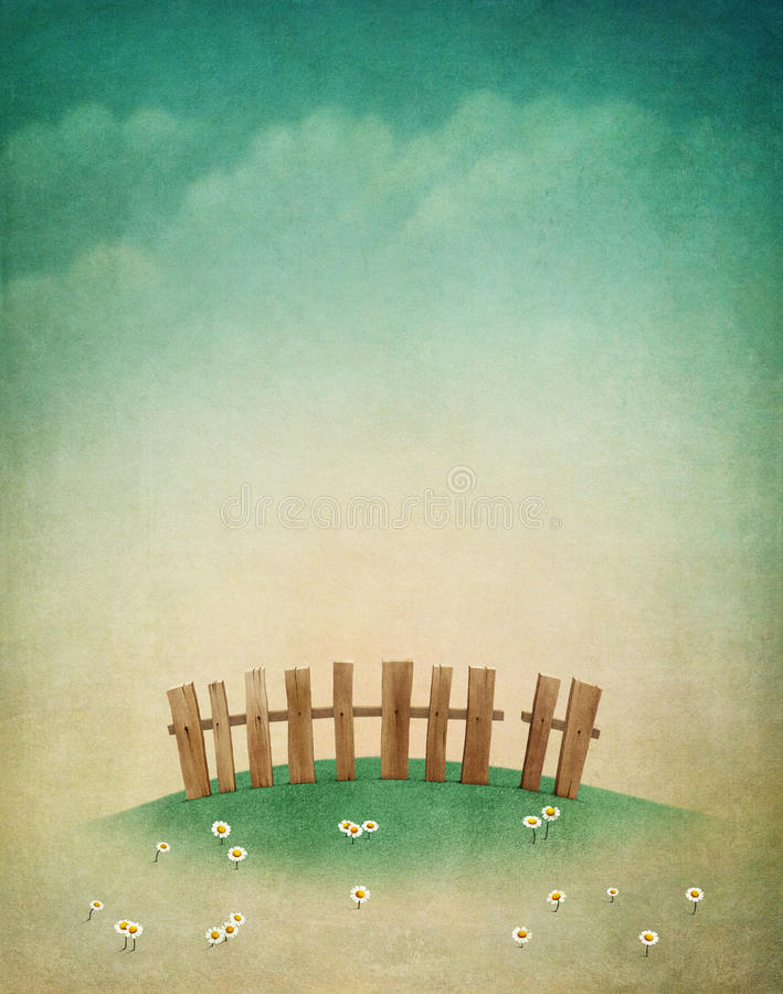 Spring lawn. Spring pastel background with green lawn and fence for greeting card vector illustration