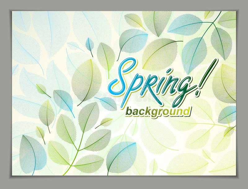 Spring leaves horizontal background, nature seasonal template for design banner, ticket, leaflet, card, poster with green and stock illustration