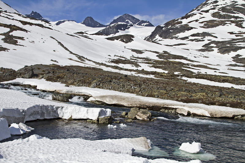 Spring in Leirdalen. The rivers and streams exempt slowly from ice and snow royalty free stock photo