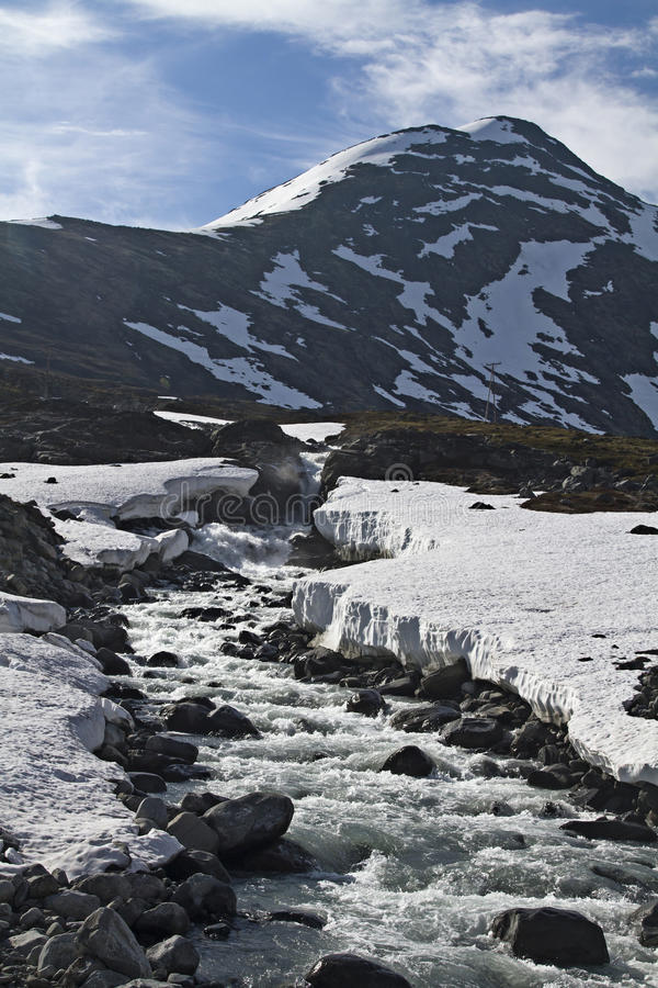 Spring in Leirdalen. The rivers and streams exempt slowly from ice and snow royalty free stock photography